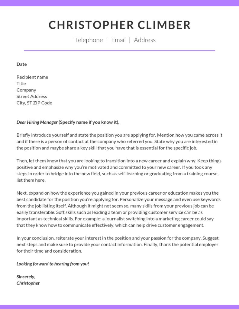 motivační dopis v angličtině vzor